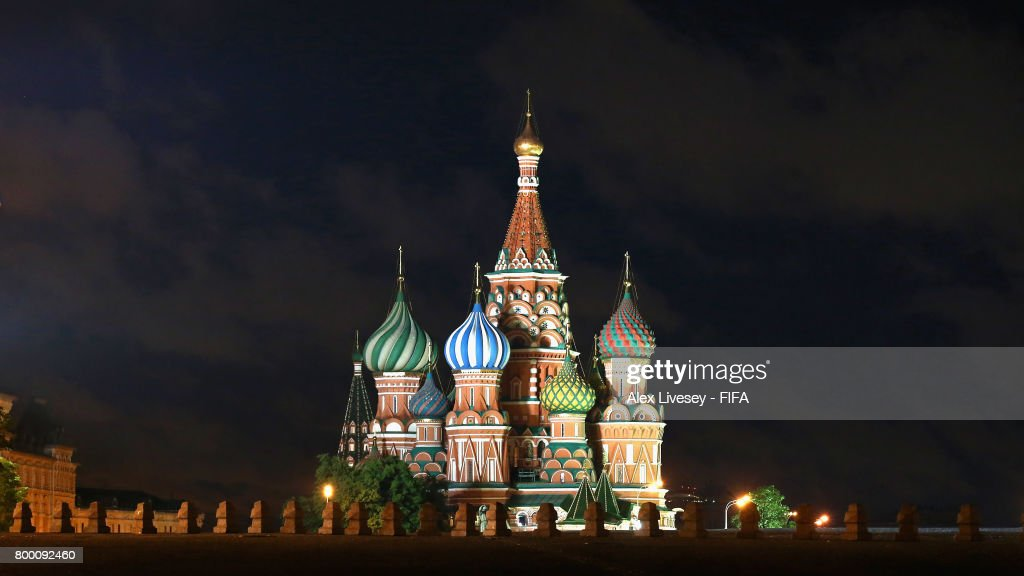 The Cathedral of Vasily the Blessed in the Red Square is seen at night during the FIFA Confederations Cup Russia 2017 on June 22, 2017 in Moscow, Russia.