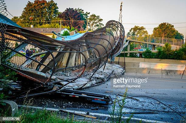 The Cathedral Street Pedestrian Bridge over the M39 Southfield Freeway in Detroit Michigan Collapsed on September 26 after the bridge was struck by a...