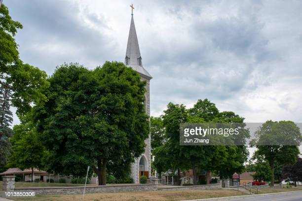 the catholic church in the small town hastings, ontario,  canada - social history stock pictures, royalty-free photos & images