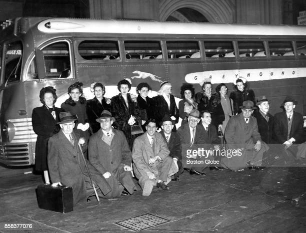 The Catholic Guild for the Blind Chorus leaves its Franklin Street headquarters in Boston en route by bus to Sherbrooke Quebec Canada where they will...