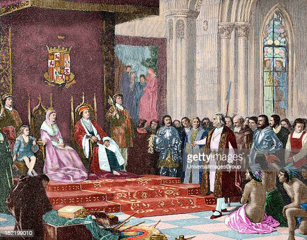 The Catholic Kings receiving Columbus in Barcelona after his first voyage April 1493 Engraving from 'The Illustrated World' by Union Colored