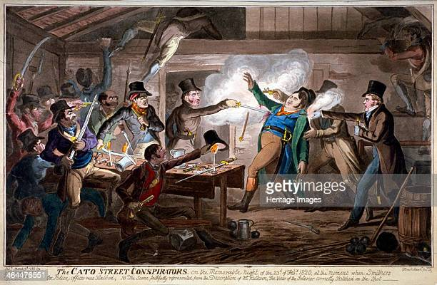 'The Cato Street conspirators' 1820 Three Bow Street officers have entered the loft above the stable the foremost Richard Smithers is stabbed with a...