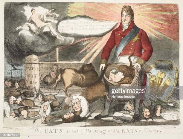 The Cats let out of the bag or the Rats in Dismay pub March 1811 The cats and rats faces are several famous political figures