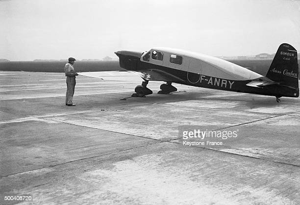 The CaudronSimoun plane just before the takeoff at Le Bourget the pilot Antoine de SaintExupery and his flight engineer Andre Prevot were attempting...