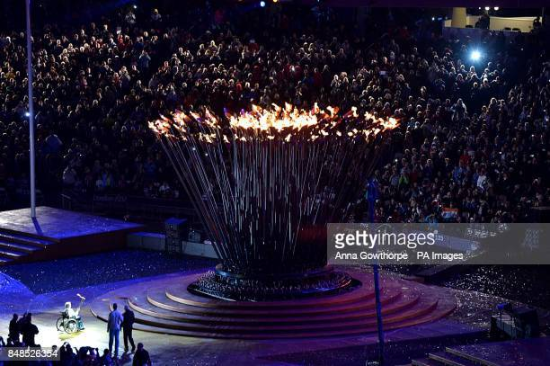 The Cauldron is lit by Margaret Maughan Great Britain's first ever Paralympic gold medallist back in 1960 during the Opening Ceremony for the London...