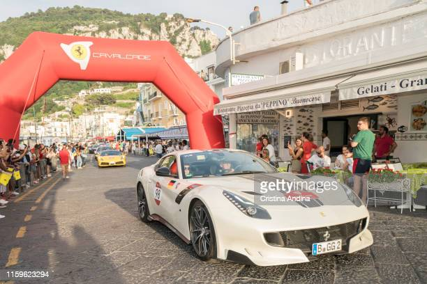 The Cavalcade of Ferrari arrives in Capri after touring the Amalfi Coast on June 28, 2019 in Capri, Italy.