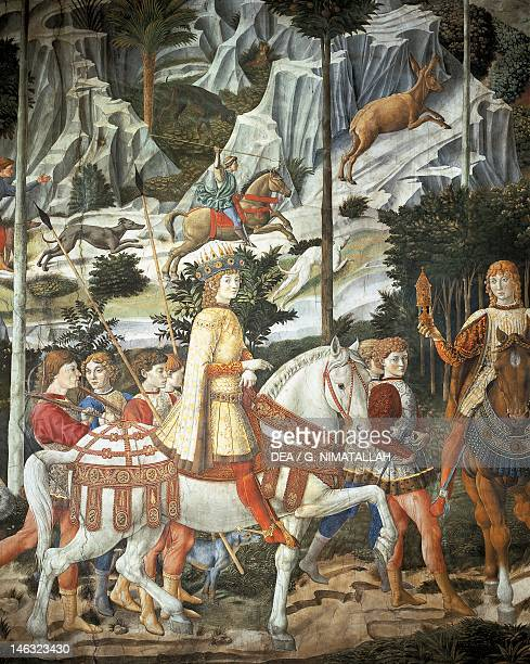 The cavalcade of the Magi by Benozzo Gozzoli fresco Detail Palazzo Medici Riccardi Florence