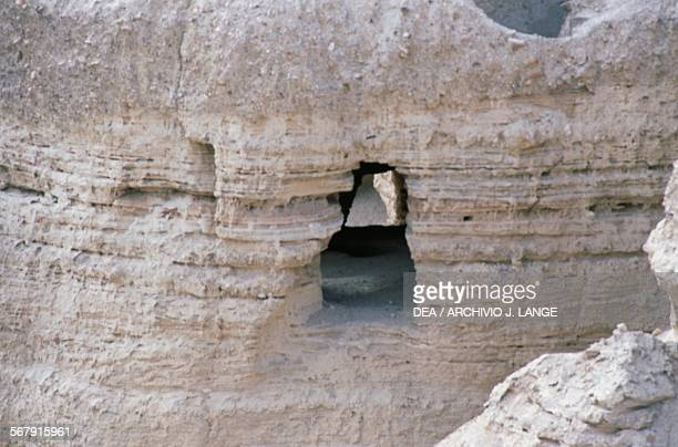 The cave area near the ancient Essene settlement of Khirbet Qumran where the Dead Sea Scrolls were found Israel
