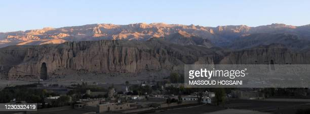 The cave-monasteries of Bamiyan and the niches where the 174-foot Buddhas, which were destroyed by the Taliban, once stood are pictured on October...