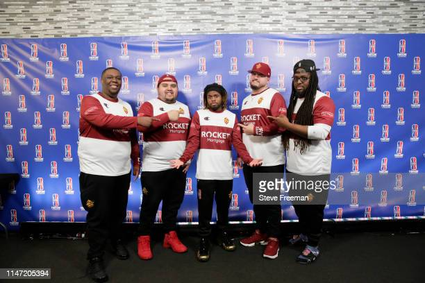 The Cavs Legion Gaming Crew poses for a photo following their 25point comeback victory over TWolves Gaming during Week 7 of the NBA 2K League regular...