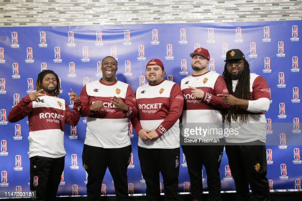 The Cavs Legion Gaming Crew poses for a photo following their match against the Hawks Talon Gaming Crew during Week 7 of the NBA 2K League regular...