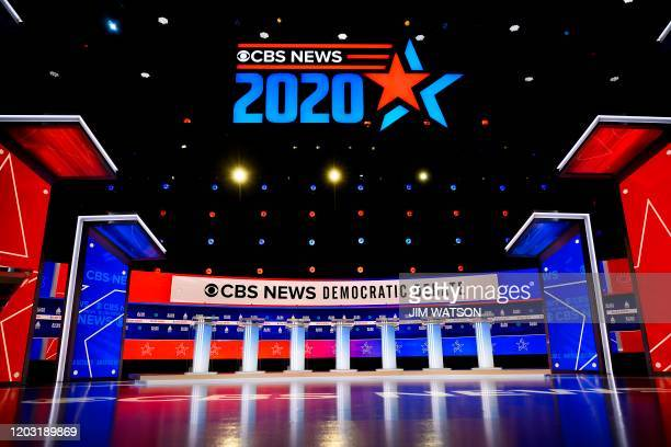 The CBS News Democratic National Committee Debate stage is viewed in Charleston South Carolina on February 25 2020 Democrats take the stage for a...