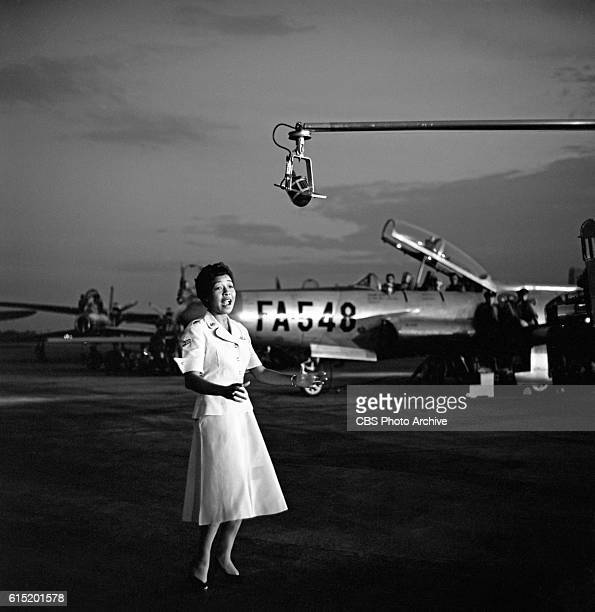The CBS Television program Toast of the Town broadcasts from Mitchel Air Force Base in Hempstead Long Island New York NY on July 25 1954 Hosted by Ed...