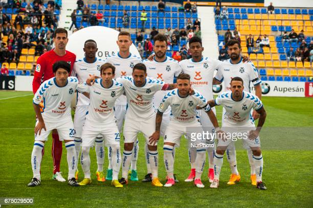 The CD Tenerife players poses before the La Liga Segunda Division match between UCAM Murcia and CD Tenerife Estadio de La Condomina Spain on 29 April...