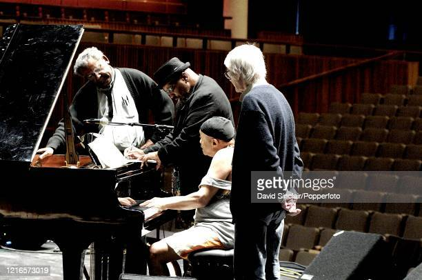 The Cecil Taylor Quartet featuring from left saxophonist Anthony Braxton bassist William Parker pianist Cecil Taylor and drummer Tony Oxley rehearse...