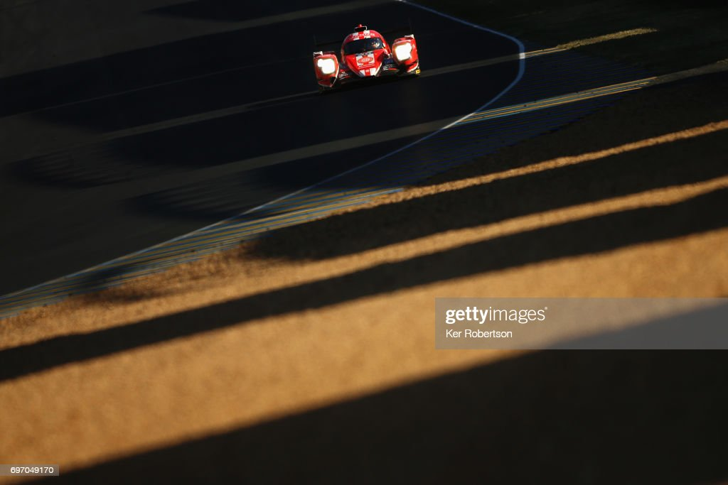 The CEFC Manor TRS Racing Oreca of Roberto Gonzalez, Simon Trummer and Vitaly Petrov drives during the Le Mans 24 Hours race at the Circuit de la Sarthe on June 17, 2017 in Le Mans, France.