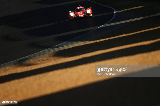 The CEFC Manor TRS Racing Oreca of Roberto Gonzalez Simon Trummer and Vitaly Petrov drives during the Le Mans 24 Hours race at the Circuit de la...