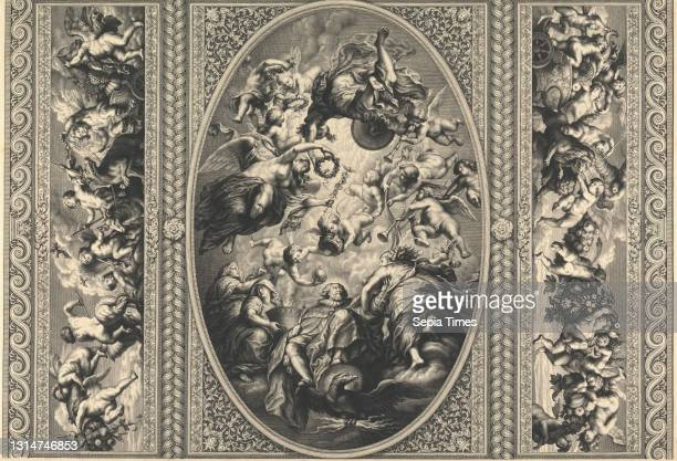 The Ceiling in the Banqueting House at Whitehall, Print made by Simon Gribelin, 1662–1733, French, active in Britain, after Sir Peter Paul Rubens,...