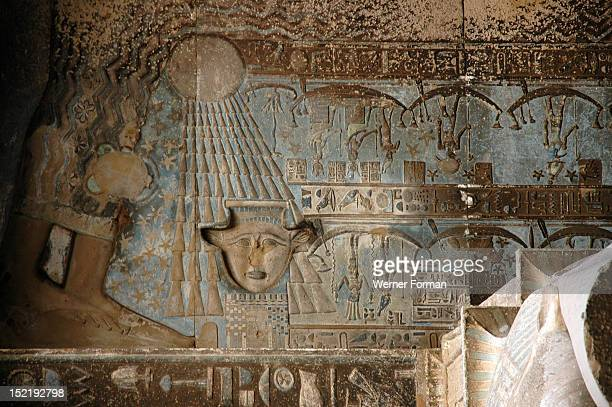 The ceiling inside the Hypostyle Hall of the Temple of Hathor contains vividly painted scenes and hieroglyphic inscriptions relating to astronomy...