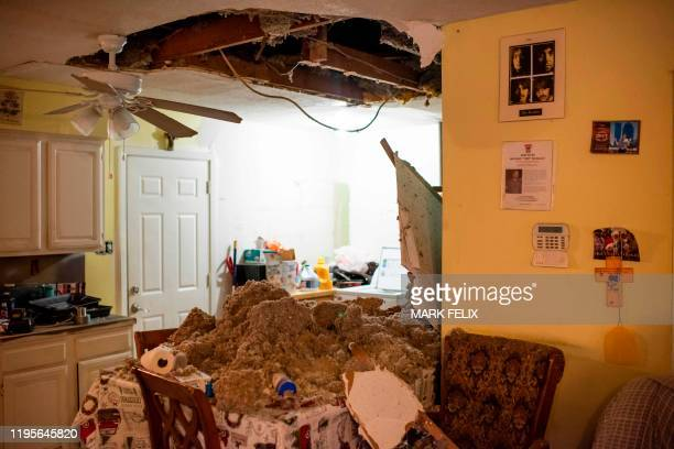 The ceiling of a home collapsed after an explosion at a northwest Houston Texas manufacturing business on January 24 2020 A large explosion shook...