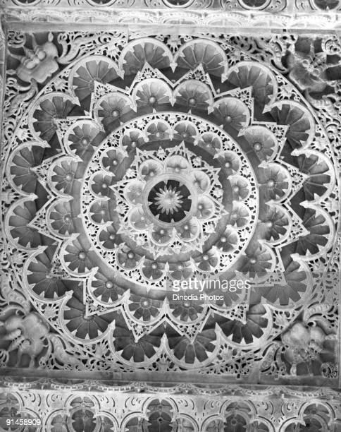 The ceiling of one of the five Jain Dilwara temples on Mount Abu in Rajasthan India 1940s