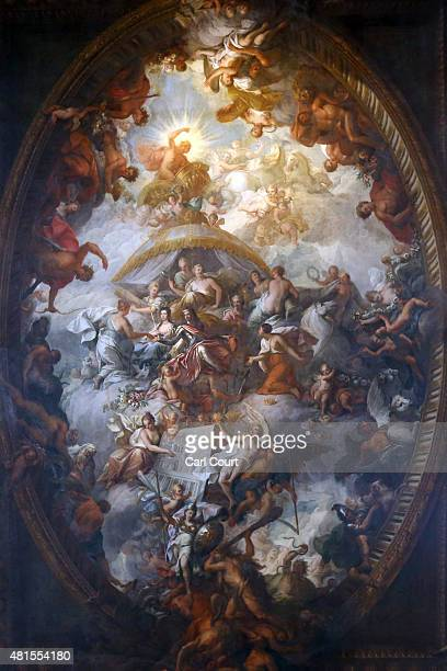 The ceiling of the Painted Hall, originally undertaken by Sir James Thornhill, is seen in the Old Royal Naval College on July 22, 2015 in Greenwich,...