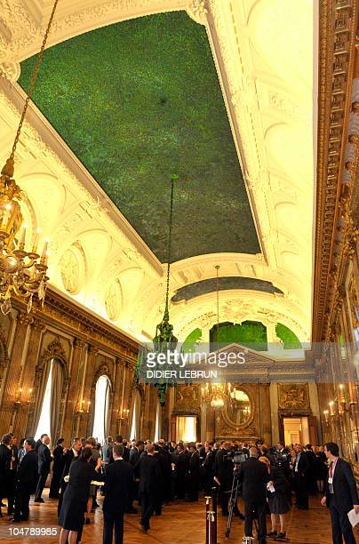 The ceiling of the Royal Palace designed by Flemish sculptor Jan Fabre and decorated with the hard chitin wing cases of the Thai Green Jewel beetle...