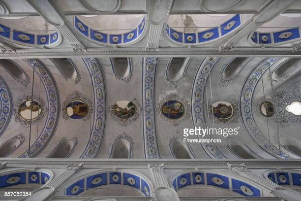 the ceiling reliefs and paintings of st.haralambos church in cesme town center. - emreturanphoto stock pictures, royalty-free photos & images