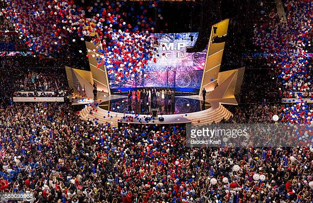 The celebration after Republican nominee Donald Trump delivers his keynote address at the Republican Convention July 21 2016 at the Quicken Loans...