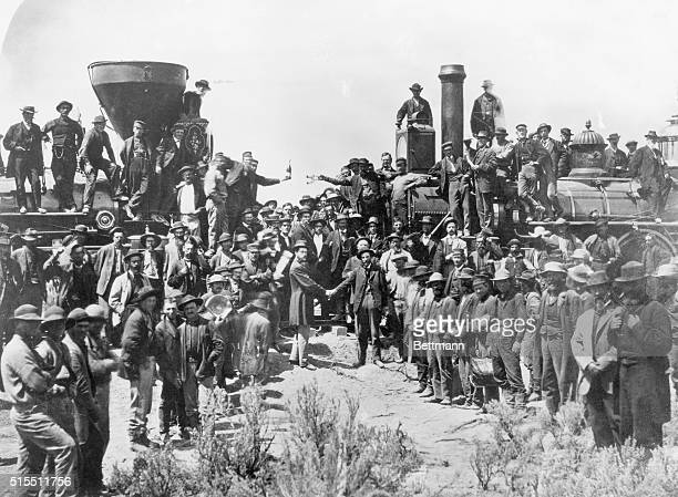 The celebration at the driving of the golden spike ceremony in Utah on May 10 1869 signifying completion of the first trans continental route