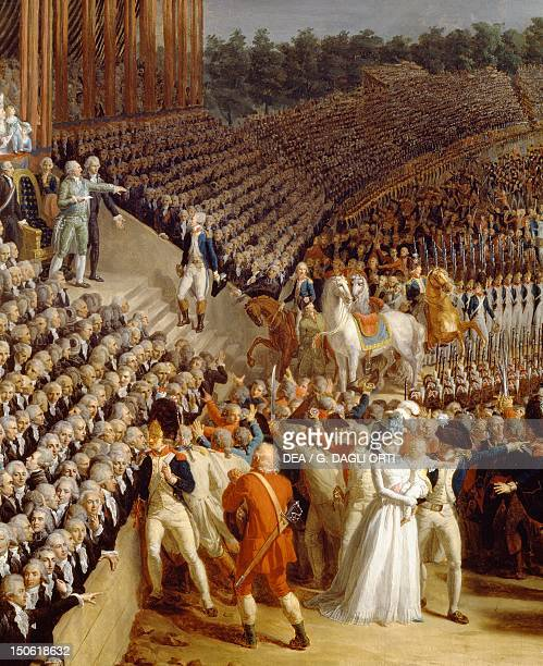 The Celebration of the Federation Champs de Mars Paris detail from a painting by Charles Thevenin 1790 French Revolution France 18th century