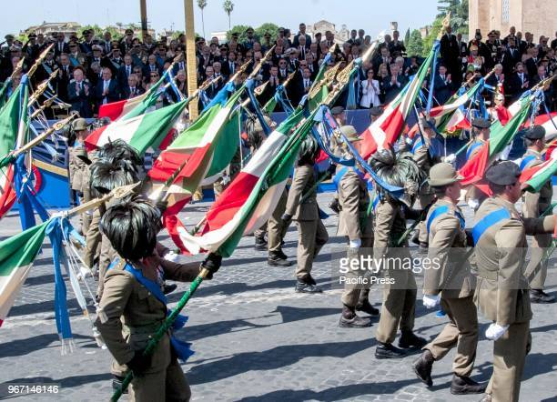 The celebration of the Republic Day in Rome with the usual parade in the Imperial Forums street