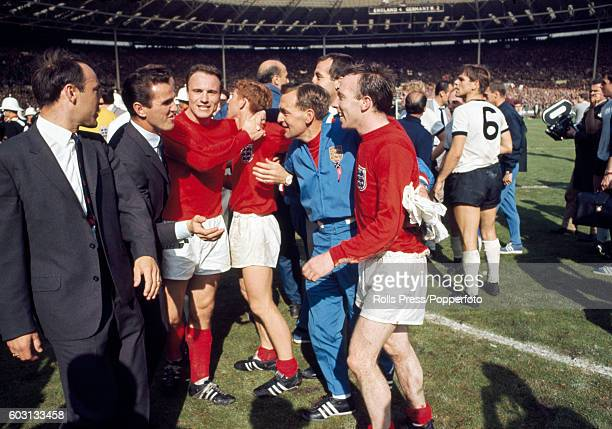 The celebrations begin for England after their victory in the World Cup Final against West Germany at Wembley Stadium in London on 30th July 1966...