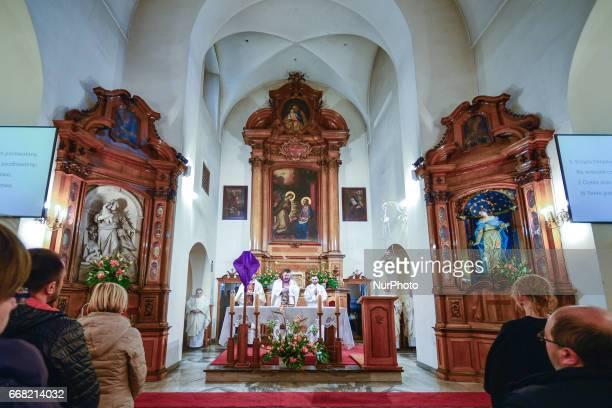 The celebrations of the Holy Thursday mass in a Capuchin church in Krakow On Thursday April 13 in Krakow Poland