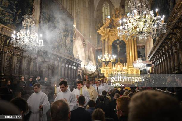The celebrations of the Holy Thursday mass in Wawel Royal Cathedral, in Krakow. Mateusz Morawiecki, Prime Minister of Poland, Jaroslaw Kaczynski,...