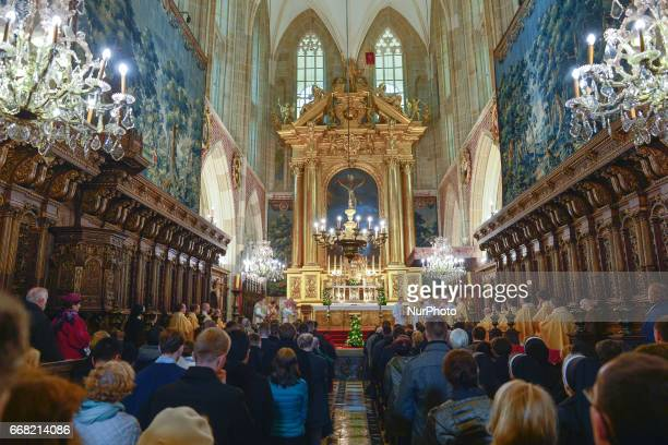 The celebrations of the Holy Thursday mass in Wawel Royal Cathedral in Krakow On Thursday April 13 in Krakow Poland
