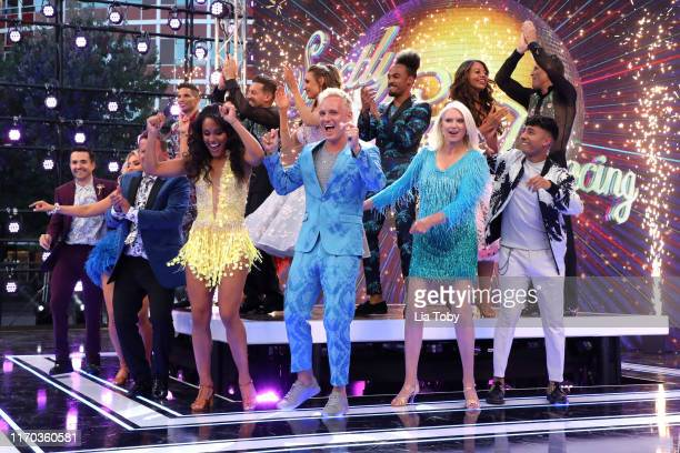 The celebrity contestants on stage at the Strictly Come Dancing launch show at Television Centre on August 26 2019 in London England