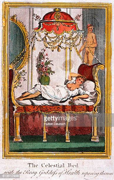 'The celestial bed with the rosy Goddess of Health' by James Graham was situated in the Temple of Health and Hymen London 1780
