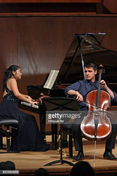 The cellist Guilherme Nardelli Monegatto and the pianist Tomomi Sato performing Brahms's Sonata No 1 for Cello and Piano at the Juilliard School's...