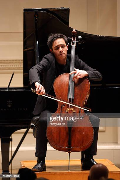 The cellist Jay Campbell performing at Weill Recital Hall on Sunday night, December 6, 2015.This image:Jay Campbell performing Elliott Carter's...