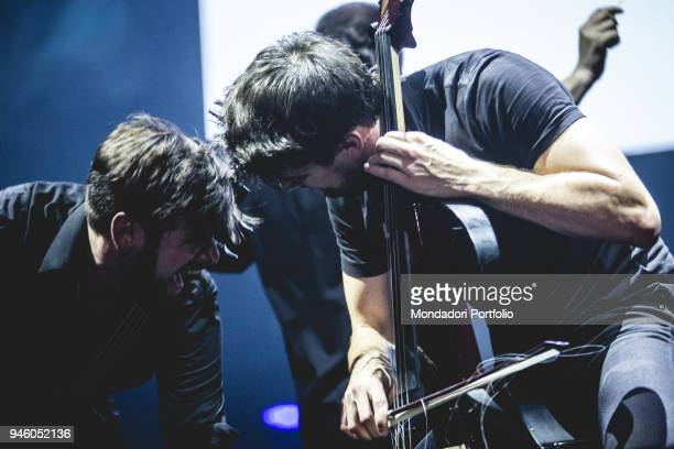 The Cellists duo 2Cellos Stjepan Hauser and Luka Šulić in concert at Mediolanum Forum in Assago Milan March 30 2017
