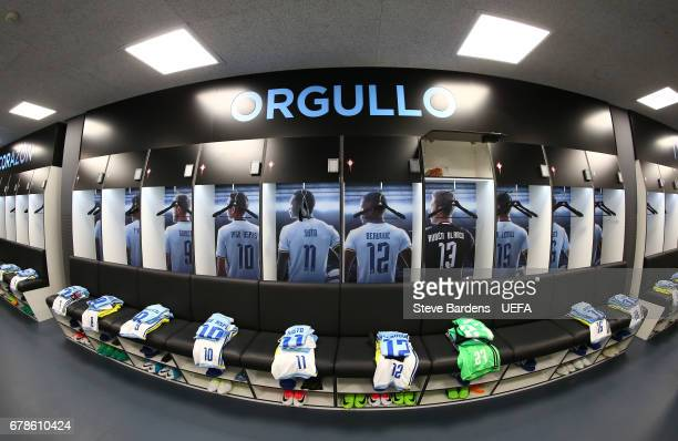 The Celta Vigo players shirts hang in the dressing room prior to kickoff during the UEFA Europa League semi final first leg match between Celta Vigo...