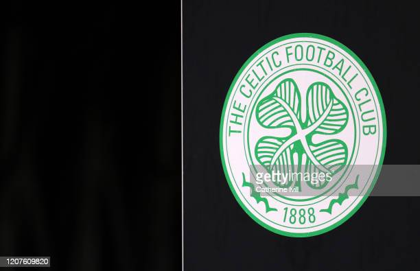 The Celtic club badge ahead of the UEFA Europa League Round of 32 first leg match between FC Kobenhavn and Celtic FC at Telia Parken on February 20,...