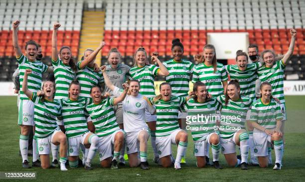 The Celtic players celebrate Champions League qualification during a Scottish Women's Premier League match between Motherwell and Celtic at Penny...