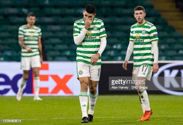 The Celtic players look dejected after conceding a second goal during the UEFA Europa League match between Celtic and Sparta Prague at Celtic Park,...