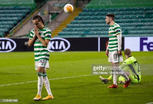 The Celtic players look dejected after conceding a third goal during the UEFA Europa League match between Celtic and Sparta Prague at Celtic Park, on...