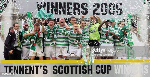 The Celtic Team celebrate victory after The Tennents Scottish Cup Final between Celtic and Dundee United at Hampden Park on May 28 2005 in Glasgow...