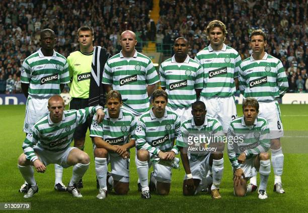 The Celtic team line up before the UEFA Champions League Group F match between Celtic and Barcelona at Celtic Park on September 14 2004 in Glasgow...