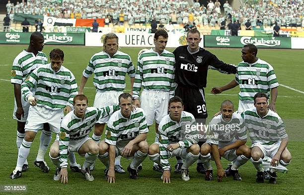 The Celtic team line up during the UEFA Cup Final match between Celtic and FC Porto on May 21, 2003 at the Estadio Olimpico, Seville Spain.