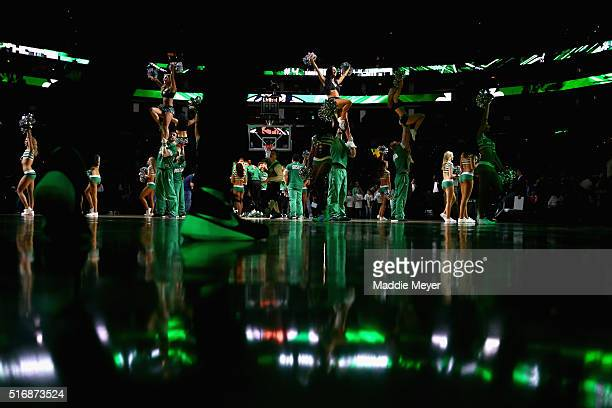 The Celtics dancers perform before the game against the Orlando Magic during the first quarter at TD Garden on March 21, 2016 in Boston,...